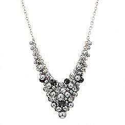 Mood - Grey pearl and jet bead cluster necklace