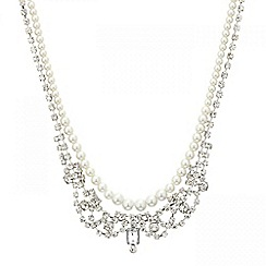 Mood - Pearl and diamante crystal multirow necklace