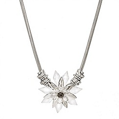 Mood - Statement clear bead flower pendant necklace