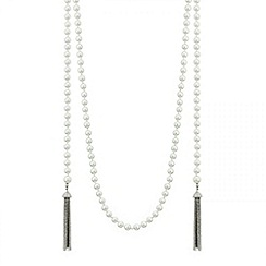 Mood - Long pearl and tassel loop drop necklace
