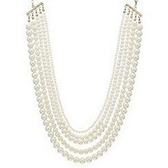 Mood - Graduated pearl five row necklace