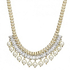 Mood - Crystal baguette and pearl drop necklace