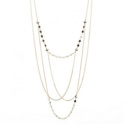 Mood - Mixed bead multi row fine chain necklace