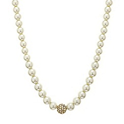 Mood - Crystal ball and pearl chain necklace
