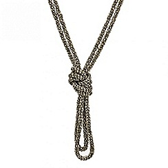 Mood - Grey bugle bead double row knot necklace