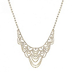 Mood - Diamante crystal gold loop necklace