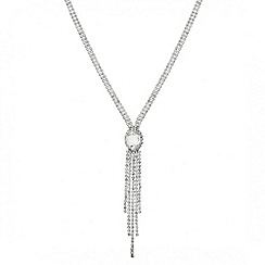 Mood - Oval diamante surround tassel drop necklace