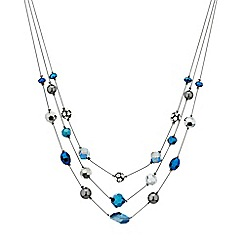 Mood - Mixed hematite and blue bead multi row necklace