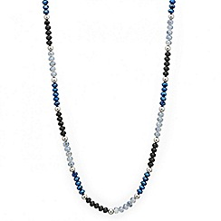 Mood - Long mixed blue bead rope necklace