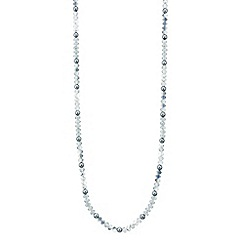 Mood - Long ice blue bead rope necklace