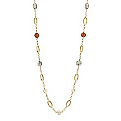 Mood - Chunky bead and gold disc long necklace