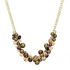 Mood - Brown tonal cluster bead necklace