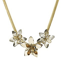 Mood - Statement triple gold flower necklace