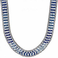 Mood - Blue stone embellished collar necklace