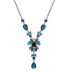 Mood - Blue tonal mixed stone y drop necklace