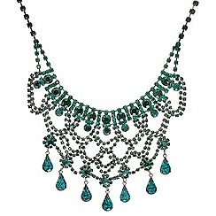 Mood - Statement green diamante loop teardrop necklace