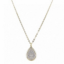 Mood - Crystal embellished gold teardrop necklace