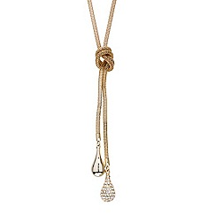 Mood - Polished and crystal teardrop lariat necklace
