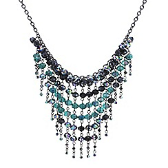 Mood - Jet and green bead shower drop necklace