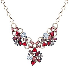 Mood - Mixed red stone embellished triple drop necklace