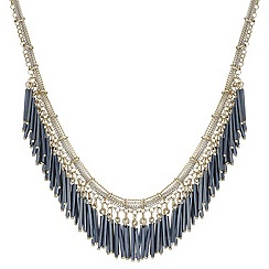 Mood - Gold multi chain and jet bead tassel drop necklace