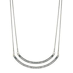 Mood - Silver double bar crystal and polished necklace