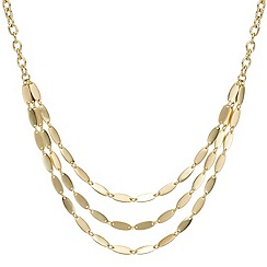 Mood - Triple row gold polish navette link necklace