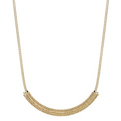 Mood - Embellished popcorn style bar and gold mesh chain necklace