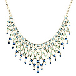 Mood - Tonal green graduated drop statement necklace