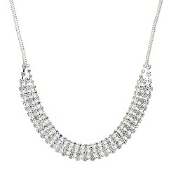 Mood - Crystal embellished triple row bar collar necklace