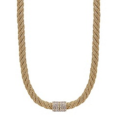 Mood - Gold mesh twist crystal clasp necklace