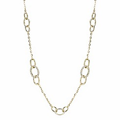Mood - Gold crystal and polish circle link metal rope necklace