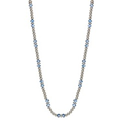Mood - Silver and blue facet bead long rope necklace