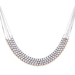 Mood - Pink beaded crystal multi row necklace