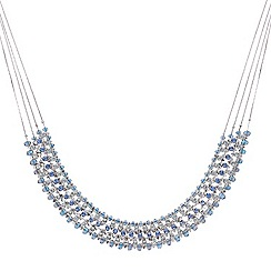 Mood - Blue beaded and crystal multi row necklace