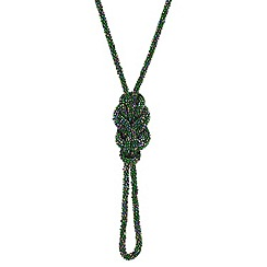 Mood - Long metallic green knot rope necklace