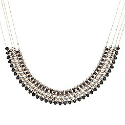 Mood - Jet and crystal embellished multi row collar necklace