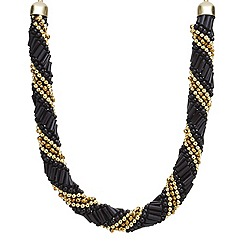 Mood - Jet and gold bead twist necklace