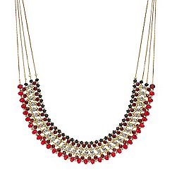 Mood - Red beaded and crystal multi row necklace