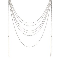 Mood - Silver twist rope multi row chain and tassel necklace