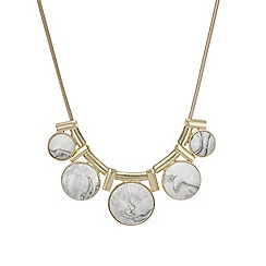 Mood - Polished gold and round white marbleized stone drop necklace