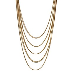 Mood - Flat gold snake chain multirow necklace