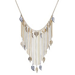 Mood - Leaf tassel collar necklace