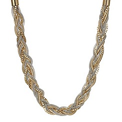 Mood - Two tone multi chain plait necklace