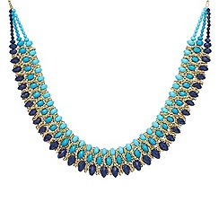 Mood - Blue tonal bead triple row collar necklace