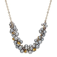 Mood - Grey pear and facet bead cluster necklace