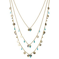 Mood - Green bead and gold disc multirow long necklace