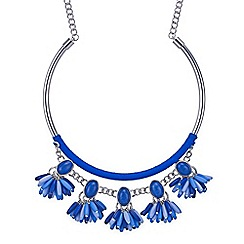 Mood - Blue beaded tassel statement necklace
