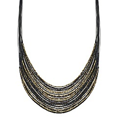 Mood - Jet and gold bugle bead multirow necklace