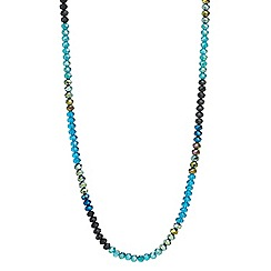 Mood - Green tonal facet bead long rope necklace